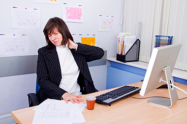 office worker with stiff neck